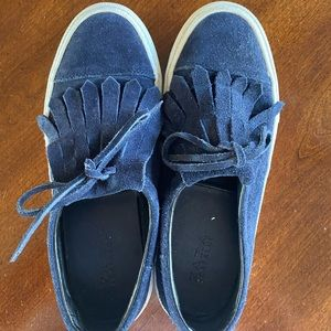 Zara Trafaluc Navy Suede Slip-On Sneakers SZ 38
